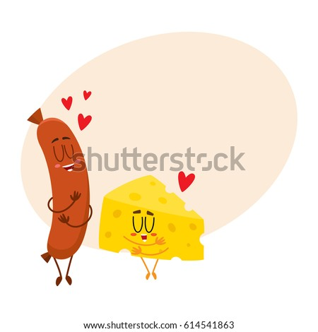 Funny cheese chunk and frankfurter sausage characters showing love, perfect couple, cartoon vector illustration with space for text. Cheese and sausage characters, mascots with human faces