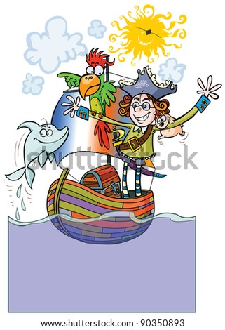 funny child pirate on boat with