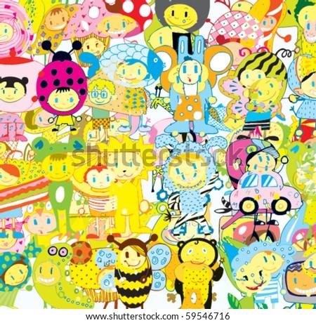 Funny Children Background (vector)