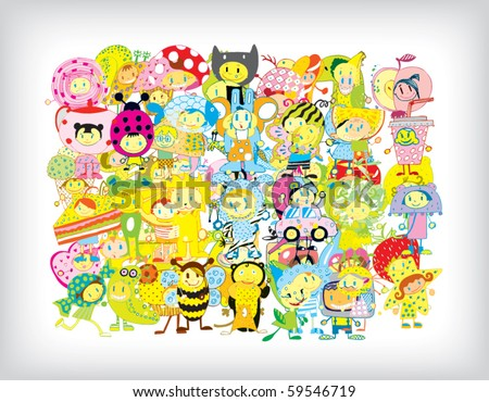Funny Children Background (vector)