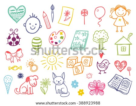 funny children drawing vector