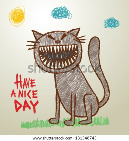 funny children picture 03 cat vector