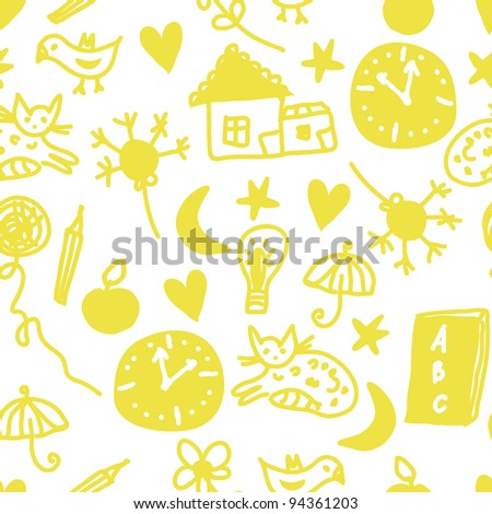 Funny children seamless pattern with cats and clocks