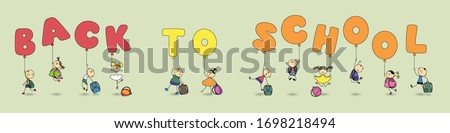 Funny children with school backpacks and balloons in the form of letters go ahead.  Schoolchildren together make up words from balloons-back to school. Flat vector illustration long banner.