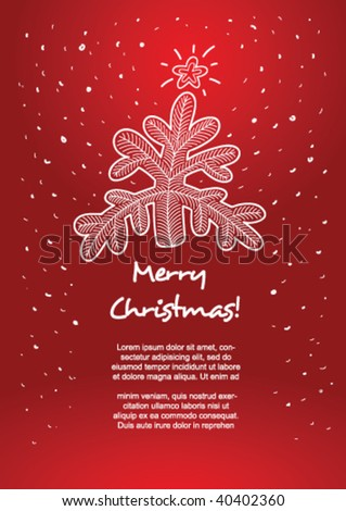 Funny Christmas and New Year card with copy space, vector