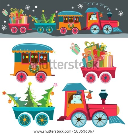 Funny Christmas background with a toy train with gifts, snowman and christmas tree, retro cartoon illustration, VECTOR