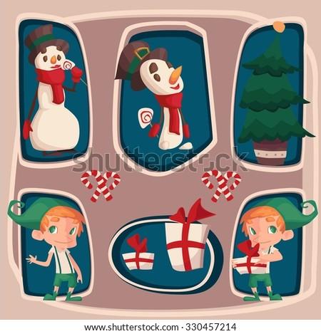 funny christmas characters set