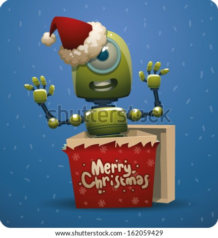 Funny Christmas green robot