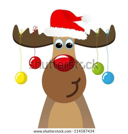 funny Christmas moose with christmas balls