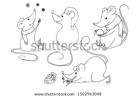 Funny Christmas mouse. outline drawing.Vector outline hand drawn illustration. Outline drawing new year set on white background.