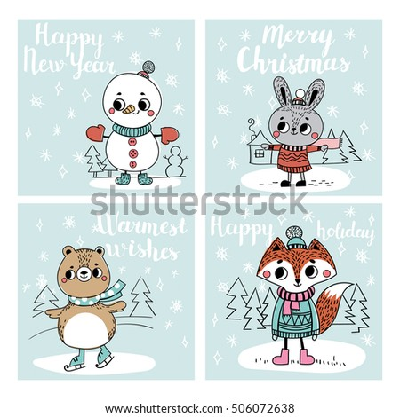 Funny Christmas personages. Christmas characters animals. Collection with Christmas cards