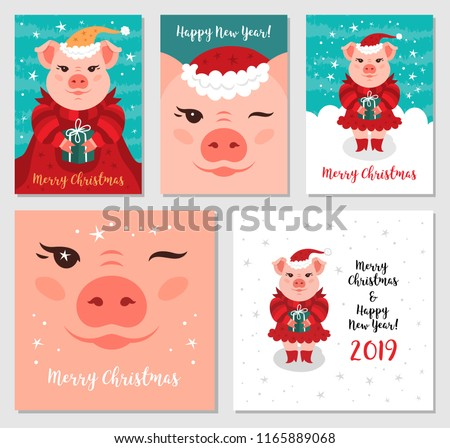 Funny Christmas pigs, Greeting cards Merry Christmas and New Year 2019. Pig Santa Claus, Christmas cards Mega Bundle. Vector illustration EPS 10