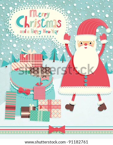 Funny Christmas postcard with Santa Claus. Vector illustration.