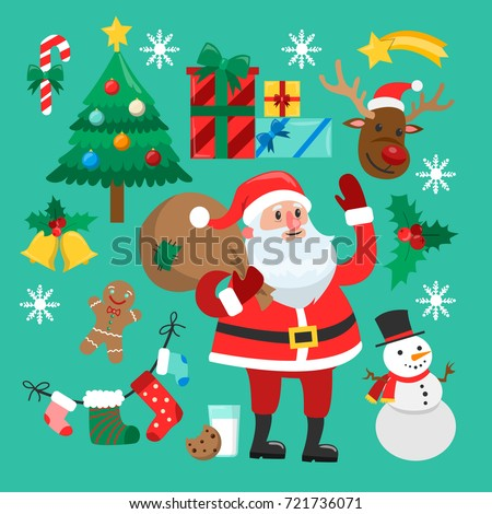 Funny Christmas stickers. Santa with bag of gifts, snowman and xmas tree, raindeer and gingerbread.