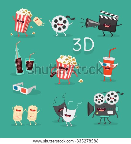 funny cinema icons set 3d