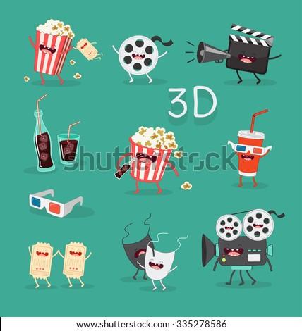 Funny cinema icons set. 3D glasses