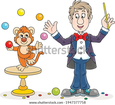 Funny circus animal trainer with his small monkey juggling with color balls, vector cartoon illustration on a white background Foto stock ©