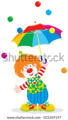 funny circus clown holding an open multicolor umbrella in the rain of small color balls