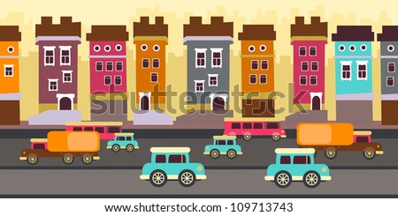 Funny city with cars