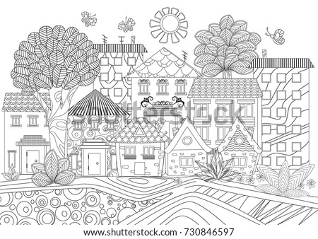 funny cityscape for coloring