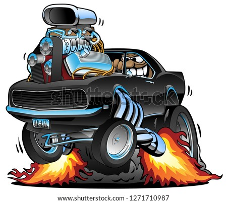 Funny classic American muscle car popping a wheelie, huge chrome engine, wild driver with a big grin, sharp cartoon vector illustration isolated for easy editing