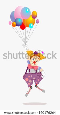 funny clown flying with balloons