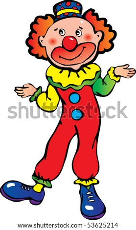 Funny clown on a white background. Vector art-illustration. - stock vector