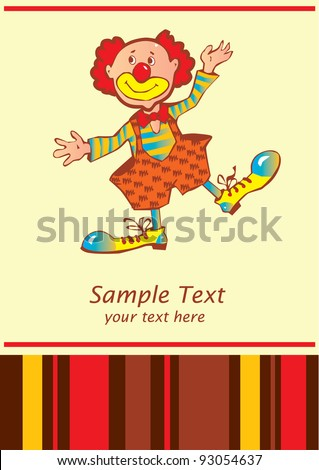 Funny clown. Place for your text. Vector art-illustration.