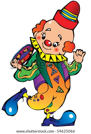 Funny clown play the tambourine. Vector art-illustration on a white background.