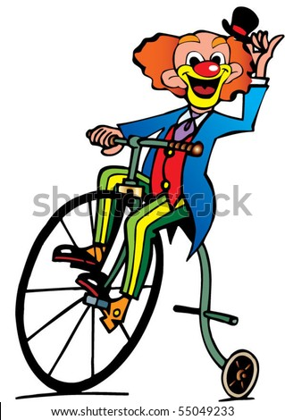 Funny clown rides a bicycle. Vector art-illustration on a white background.