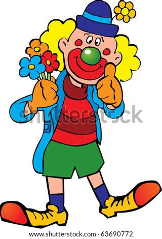 Funny clown. Vector art-illustration on a white background. - stock vector