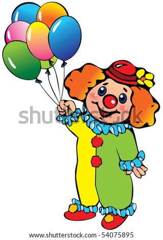 Funny clown with balloons. Happy Birthday. Vector art-illustration on ...