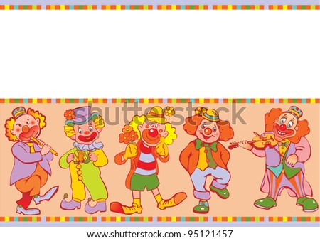 Funny clowns frame. Place for your text. Vector art-illustration. - stock vector