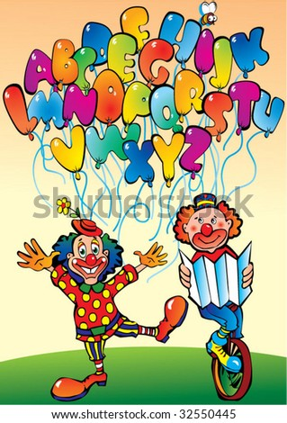 Funny clowns with alphabet in the form of letters. Vector art-illustration. - stock vector