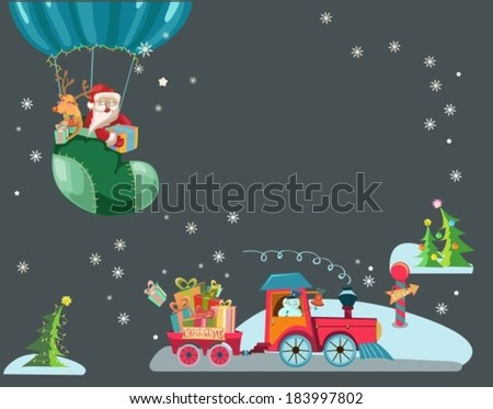 Funny Color Christmas background with a toy train with gifts, snowman and christmas tree, hot air balloon with Santa Claus and deer, retro cartoon illustration, VECTOR