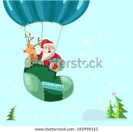 Funny Color Christmas background with hot air balloon with Santa Claus and deer, retro cartoon illustration, VECTOR