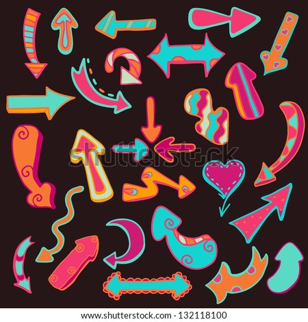 Funny colored arrows on dark background - vector