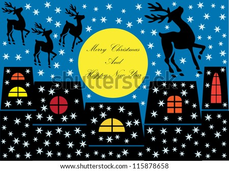 funny colorful christmas design with reindeer and houses in silhouette, full moon and snowflakes by night with place for your text