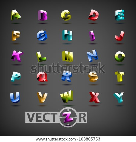 Funny colorful 3d alphabet, vector illustration, eps10, 3 layers