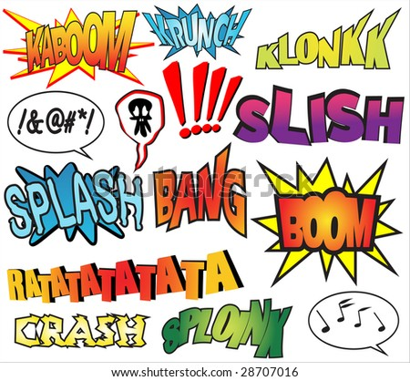 stock vector : Funny comic book sound effects