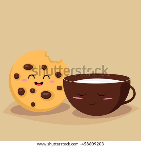funny cookie with a cup of milk