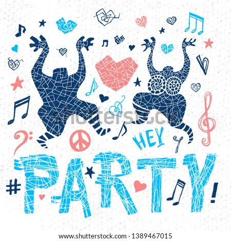 Funny cool dude character music theme hearts doodle lettering slogan graphic art for t shirt design print posters. Hey, party. Hand drawn vector illustration.