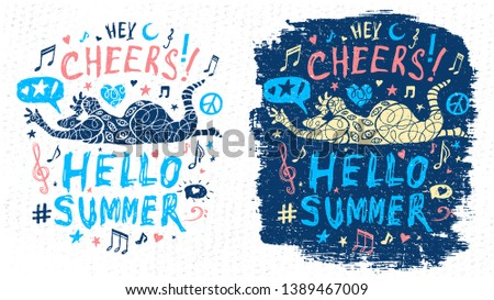 Funny cool dude character theme music party doodle style lettering slogan graphic art for t shirt design print posters. Hey, cheers, hello summer. Hand drawn vector illustration.