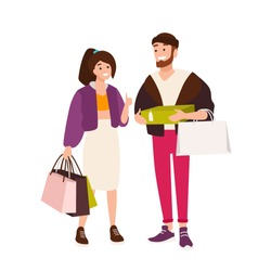 Funny couple carrying shopping bags and boxes. cute boyfriend and girlfriend holding their purchases. Pair of shopaholics. Cartoon characters isolated on white background. Flat vector illustration.