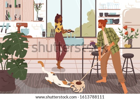 Funny couple cleaning house together cartoon vector illustration. Man and woman doing housework at kitchen. Casual family washing dirty dishes and floor, making housekeeping domestic chores.
