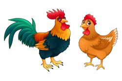 Funny couple of rooster and hen. Vector cartoon isolated characters