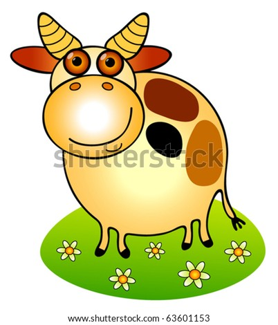 funny cow. stock vector : funny cow