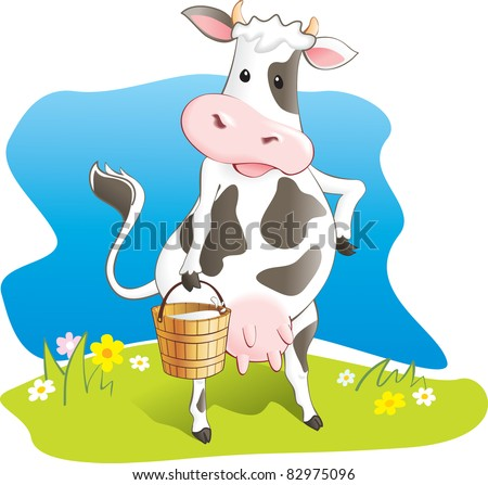 Funny cow carry wooden pail with milk. Lawn, flowers and sky. Vector illustration