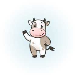 Funny cow cartoon character, happy cow vector illustrarion, logo template