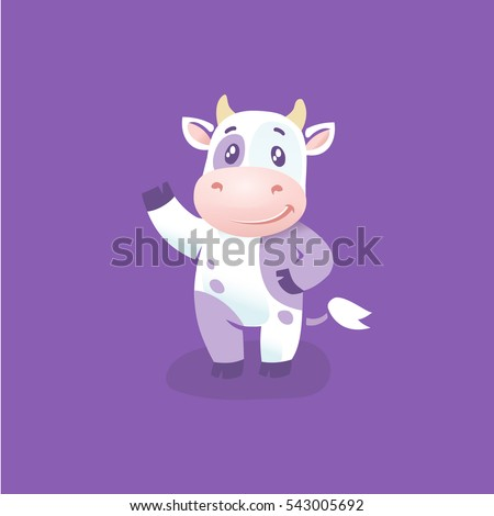 Funny cow cartoon character, hsppy cow vector illustrarion